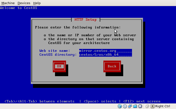 CentOS Net Installation HTTP Setup
