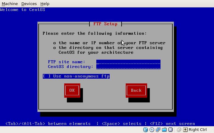 CentOS 5.4 Net Install dialogue - FTP